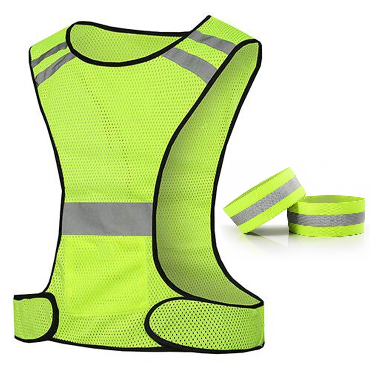 Hohe Sichtbarkeit Reflektierende Weste für Laufen oder Radfahren mit Tasche, Gear für Joggen, Radfahren, Motorrad, Walking