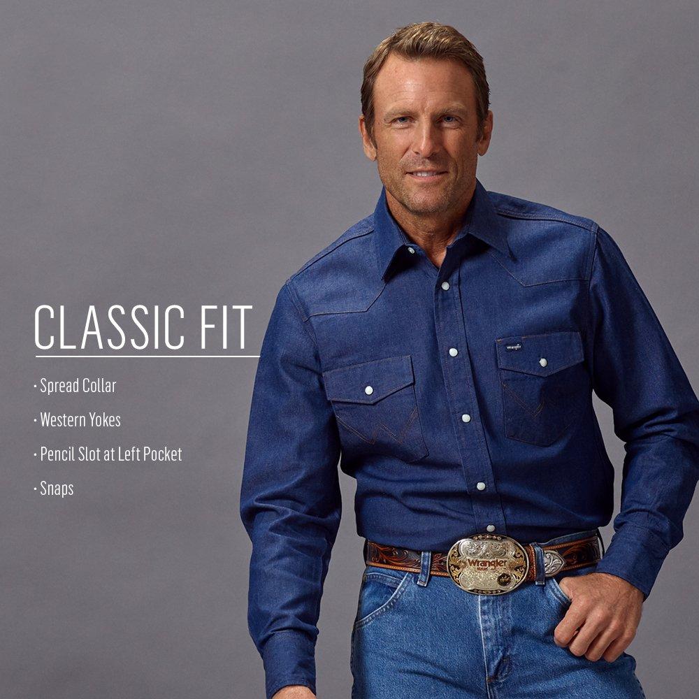 64a74aff Amazon.com: Wrangler Men's Western Work Shirt Firm Finish: Clothing