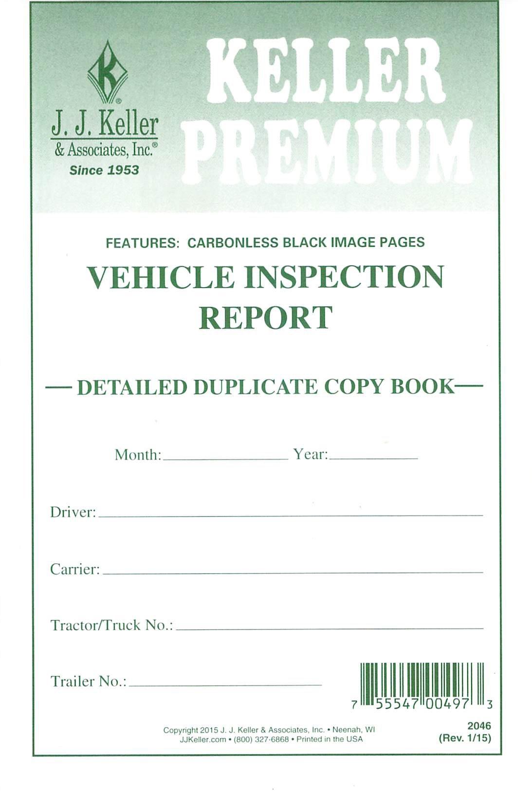 J.J. Keller 2046 (146B) Detailed Driver's Vehicle Inspection Report, 2-Ply, Carbonless - Pack of 25