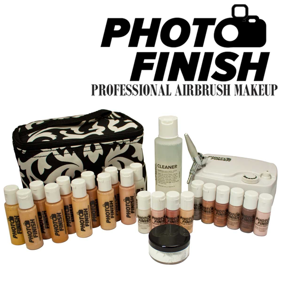 Photo Finish Professional Airbrush Cosmetic Makeup Deluxe System Kit / Fair to Tan Shades (Matte)