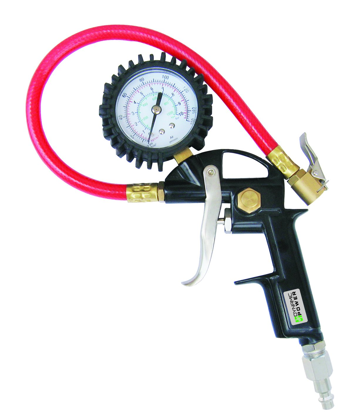 Dynamic Power Pistol Style Tire Inflator with Gauge. Combined Inflation GUn, CHuck, and Gauge. Built-in Relief Valve. D355303