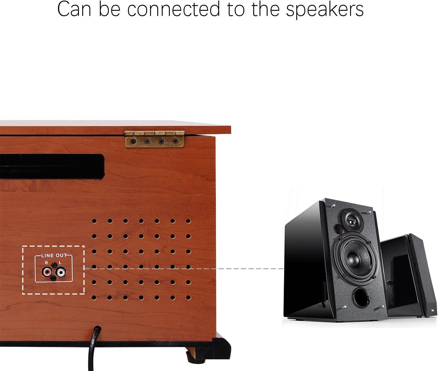 MUSITREND Equipo EstéReo Retro Con Tocadiscos Bluetooth de Madera ...