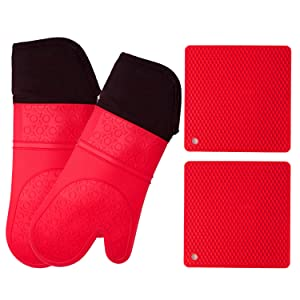 Silicone Oven Mitts and Potholders (4-Piece Set) Heavy Duty Cooking Gloves, Kitchen Counter Safe Trivet Mats | Advanced Heat Resistance, Non-Slip Textured Grip (Pot Holder&Oven Mitts, Red)