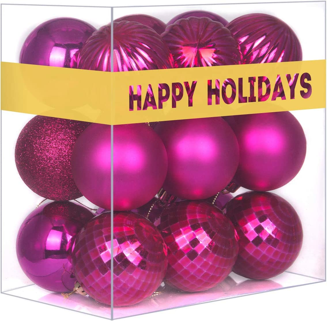 GameXcel 36Pcs Christmas Balls Ornaments for Xmas Tree - Shatterproof Christmas Tree Decorations Large Hanging Ball Fluorescent Pink 2.5