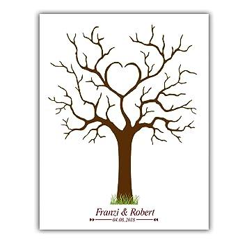 Árbol de huellas para bodas, personalizable