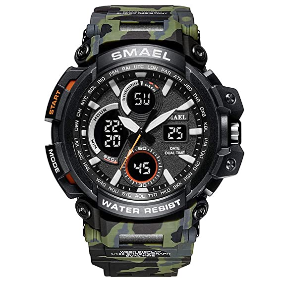 jieGREAT ☘ Reloj de Pulsera Digital SMAEL para Hombre, con Doble Pantalla, analógico