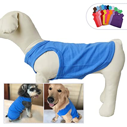 3fd137441d0 Lovelonglong 2019 Pet Clothing Costumes, Puppy Dog Clothes Blank T-Shirt  Tee Shirts for Large Medium Small Dogs, 100% Cotton Classic Pet Clothing ...