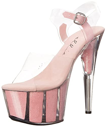 bcb3760abc13 Ellie Shoes Women s 7 Inch Pointed Stiletto Sandal With Glitter In Platform  (Pink 5