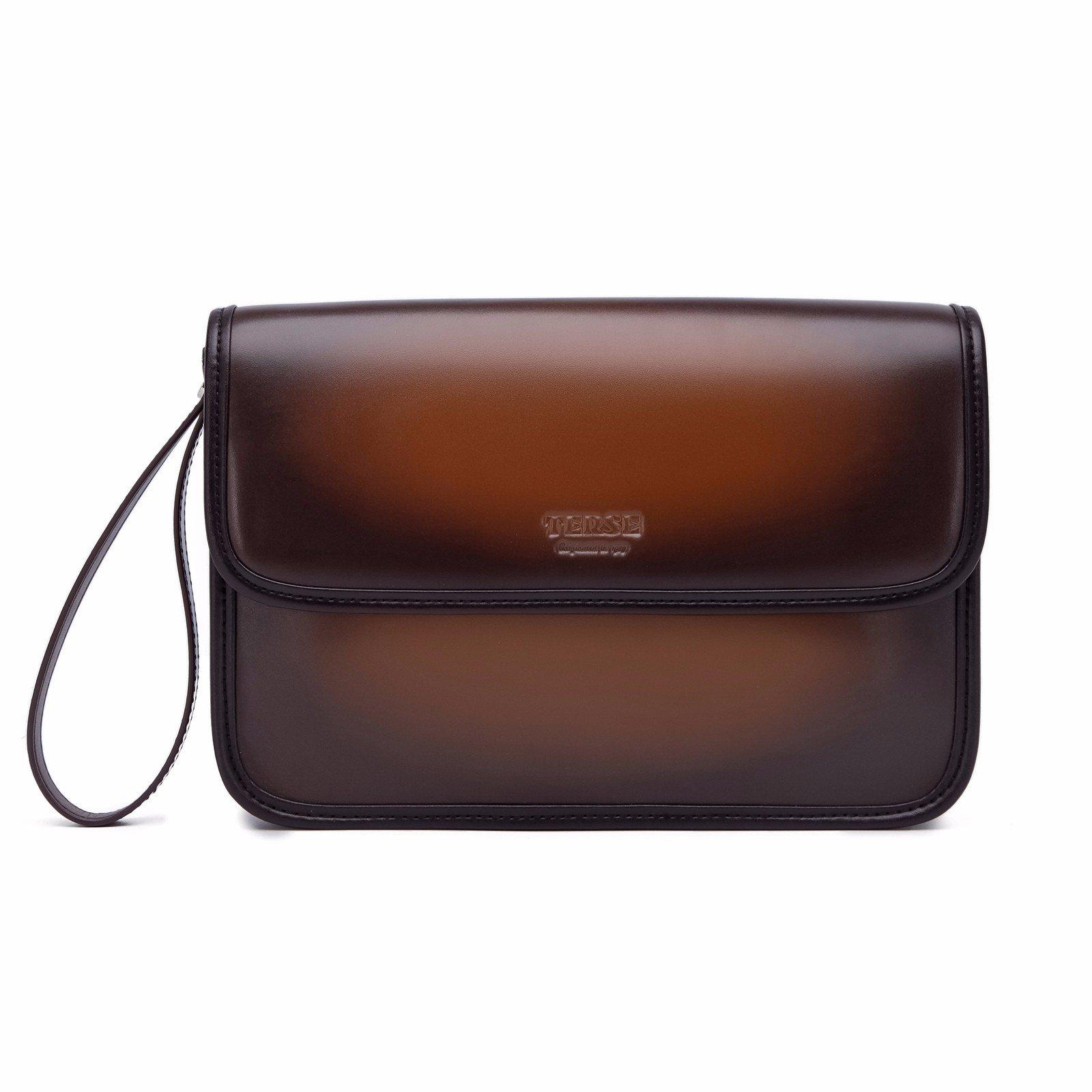 TERSE Genuine Leather Clutch Bag Handmade Wristlet Card Cash Holder Business Handbag Zipper Wallets Manual Brush-off(Tobacco) TS615Q