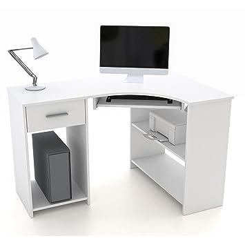 Pc eckschreibtisch  Schreibtisch Eckschreibtisch PC Tisch SILVIA in weiß mit ...