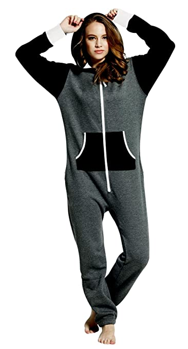 7f94d6830ee1 Women s Ladies Onesie Hoodie Jumpsuit Playsuit Char-Black S