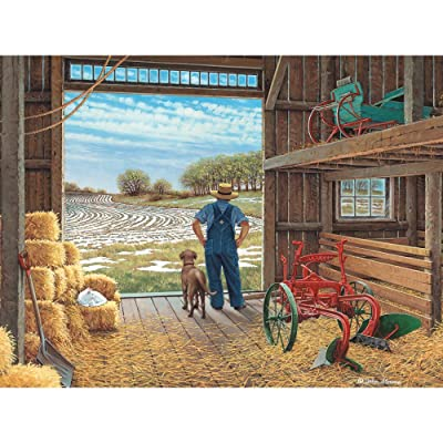 Bits and Pieces - 500 Piece Jigsaw Puzzle for Adults - Waiting for Spring - 500 pc Farmer in The Barn Jigsaw by Artist John Sloane: Toys & Games