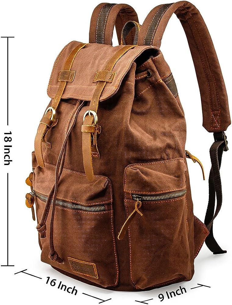 Bag Canvas Men/'s Vintage Backpack Barrel Rucksack Shoulder Travel Camping Bag
