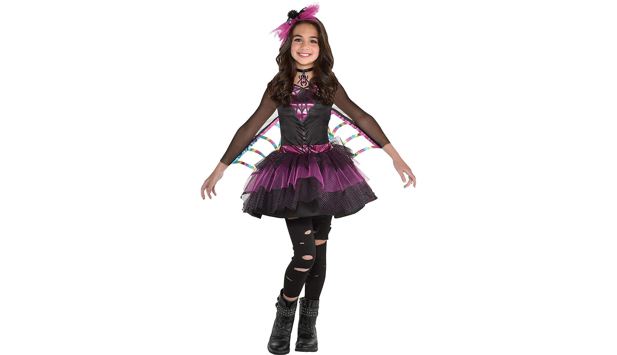 - 711JeCajNtL - Spider Dress Halloween Costume for Girls, Medium, with Included Accessories, by Amscan