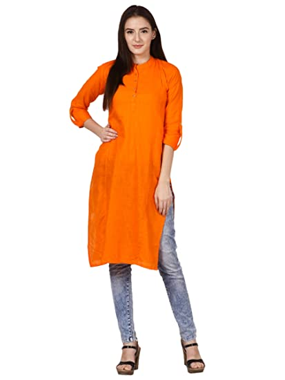 72c2808838 SAADGI Women s Cotton Linen Pintex Work Solid Straight Kurta  Amazon.in   Clothing   Accessories
