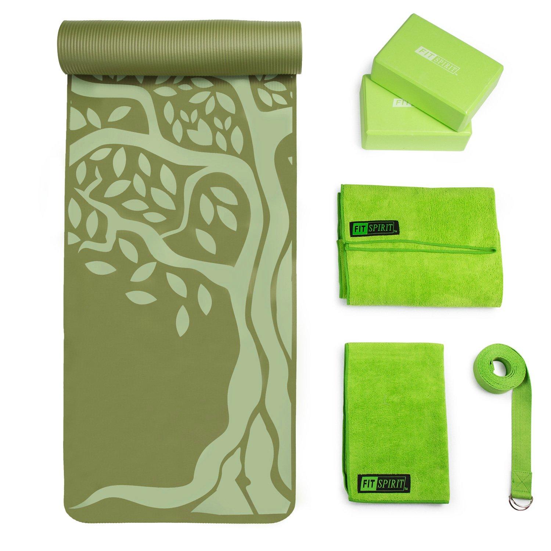 FIT SPIRIT Yoga Starter Set Kit - Includes 1/2'' Thick NBR Exercise Mat, Yoga Blocks, Yoga Towels, Yoga Strap/Green Tree