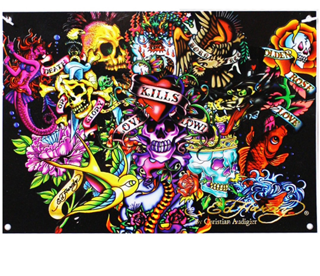 Ed Hardy Collage 7' X 5' Polyester Wall Banner