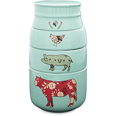 Pavilion Gift Company 23130 Live Simply Bee Chicken Pig and Cow Measuring Cups, Teal