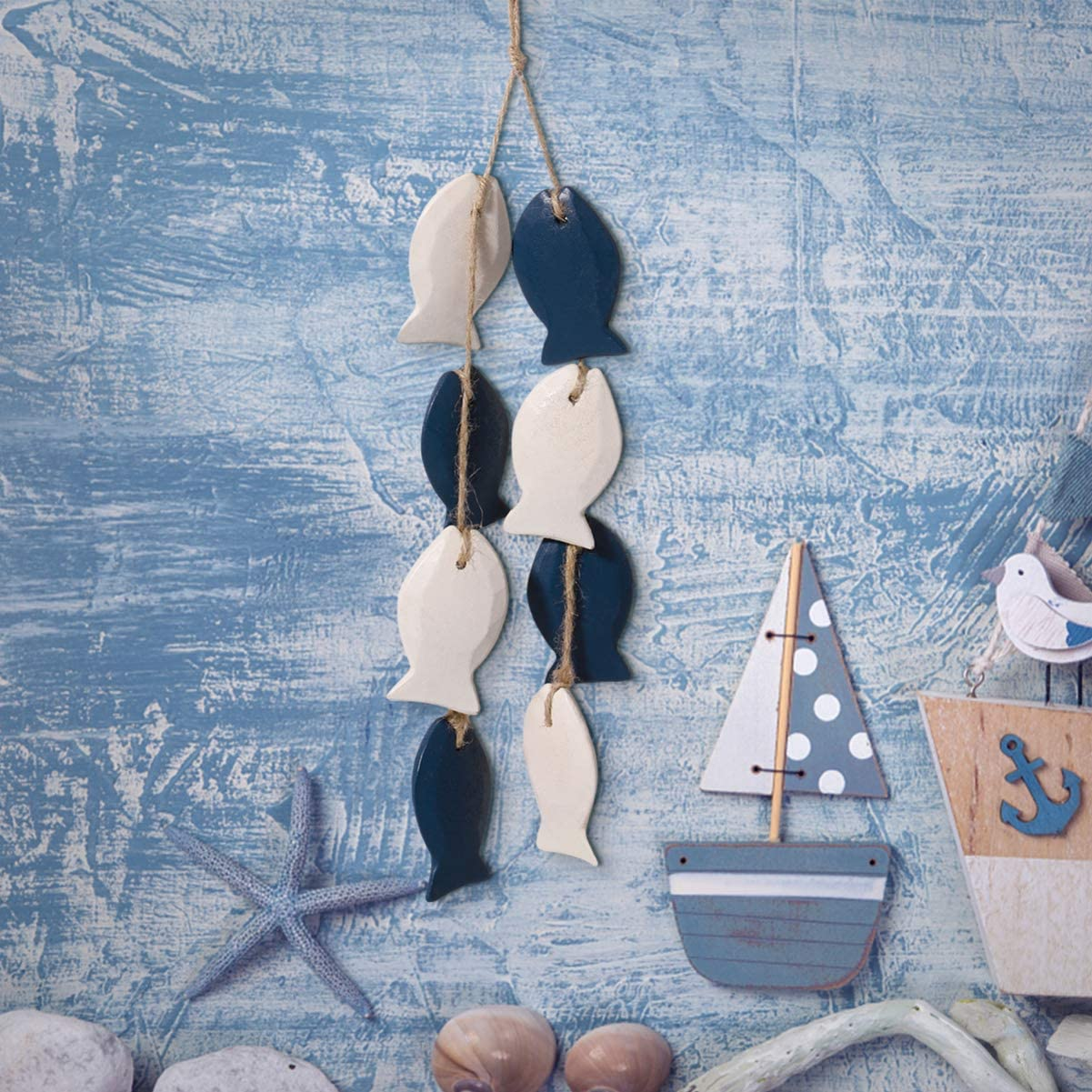 IMIKEYA Wood Fish Decor Wall Hanging Ornament Wooden Pendants 16.1 Inch Mediterranean Style Wall Decor for Living Room Home Bedroom