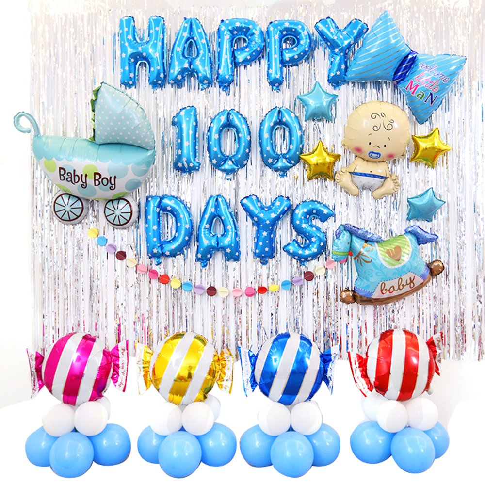 Amazon Riverbyland Colorful 100 Days Mylar Birthday Balloons Set Boy Party Decoration Toys Games