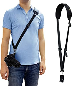 Hukado Camera Strap, Camera Neck Sling Strap Quick Release Shoulder Strap with Safety Tether Compatible with Most Canon Nikon Sony DSLR Cameras