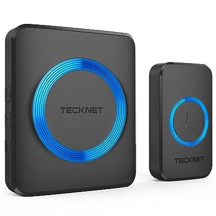 TeckNet Wireless Doorbell, Waterproof Wall Plug-in Cordless Door Chime Kit  With 300m Range, 52 Chimes, 4-Level Volume & Blue Light, No Batteries