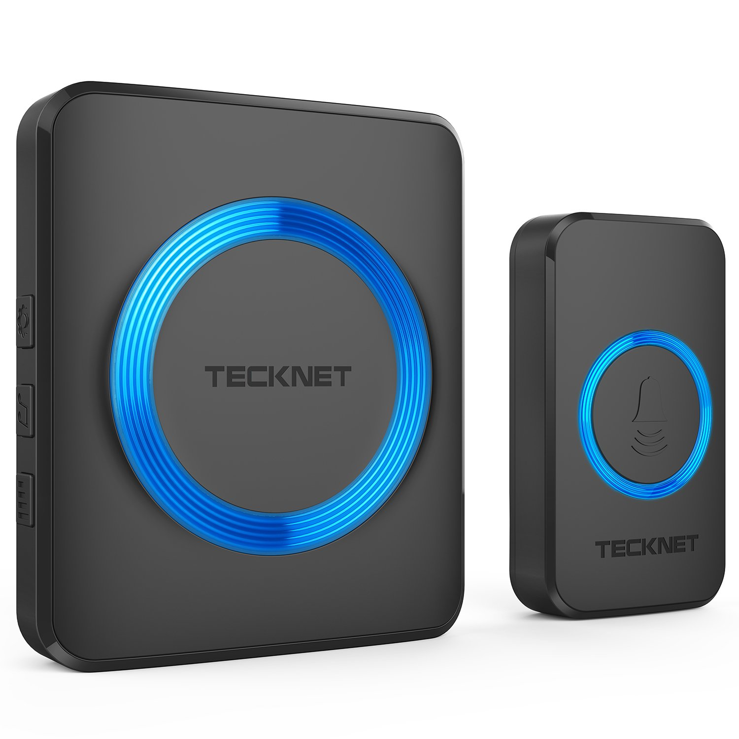 Wireless Doorbell, TeckNet Plug-in Cordless Door Chime Kit With 1000ft Range, 52 Chimes, 4 Level Volume, No Batteries Required for Receiver (Black)