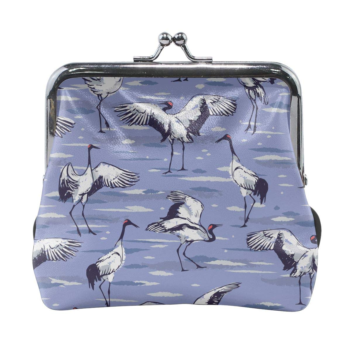 Japanese Cranes Dancing Women Girl Canvas Floral Coin Purse Clutch Pouch Wallet