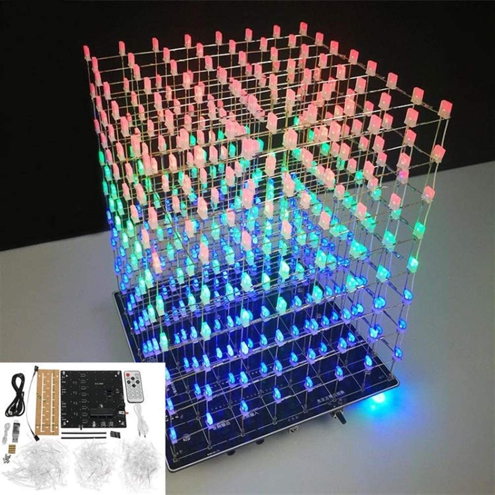 8x8X8 512 LED DIY 3D LED Light Cube Kit Wi-Fi Connected APP Control Music Spectr