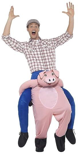 Smiffys-47157 Cerdo Piggyback, Disfraz de una Pieza con ...