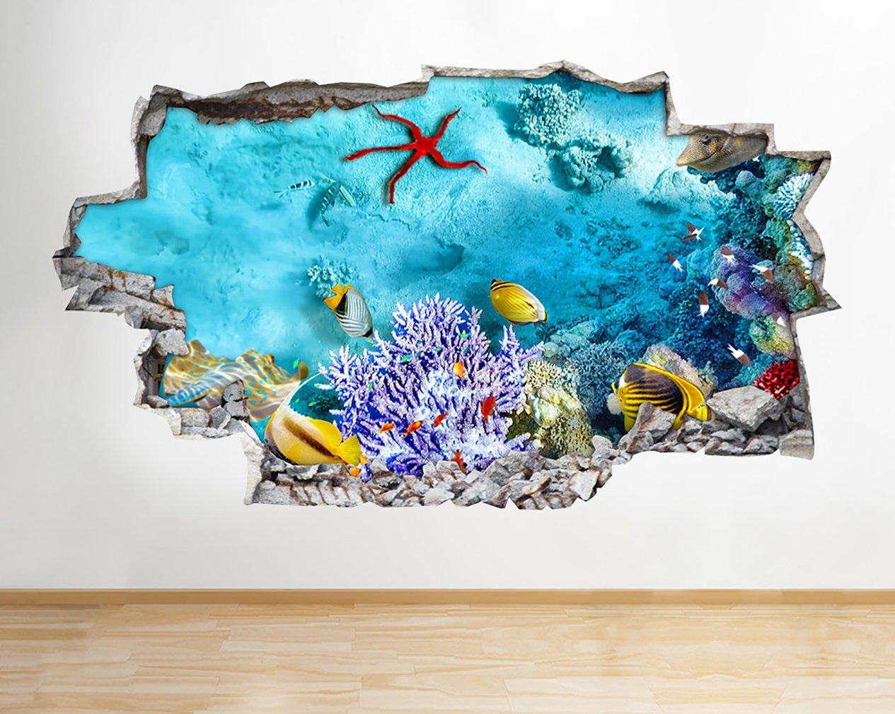 Póster de coral de acuario A202 con diseño de pecera en 3D, pegatinas de vinilo para habitación de niños, dormitorio, cuarto de bebé, sala de estar fría, ...