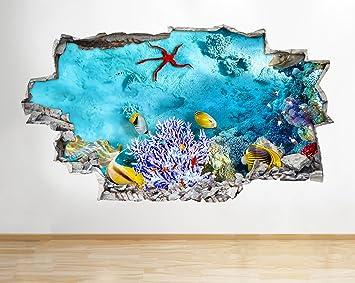 Póster de coral de acuario A202 con diseño de pecera en 3D, pegatinas de vinilo para ...