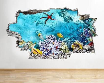 Póster de coral de acuario A202 con diseño de pecera en 3D, pegatinas de vinilo para habitación ...