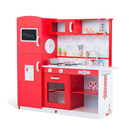 Gentil Plum Products Kids Terrace Wooden Play Kitchen, Red   Over 3u0027 Tall With 6