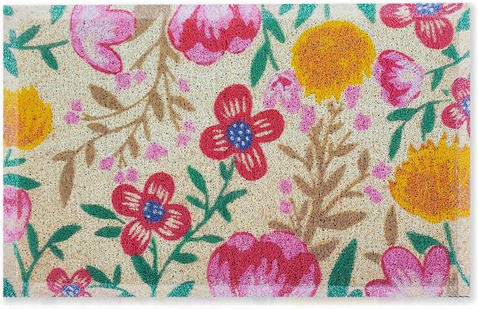 """Floral Door Mat Outdoor Indoor Front Door Welcome Mat 18""""x30"""" Non Slip Rubber Backing Colorful Doormat Waterproof Quick Catch Dirt Easy Clean Entrance Mat"""