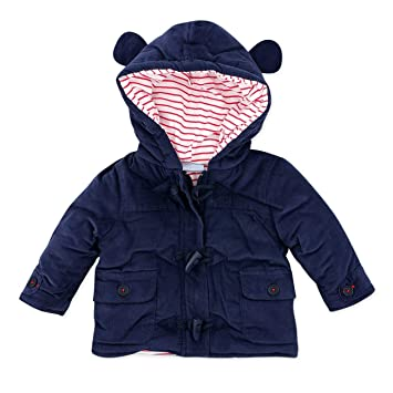 Baby Jacke mit Kapuze Jungen dunkelblau Dufflecoat