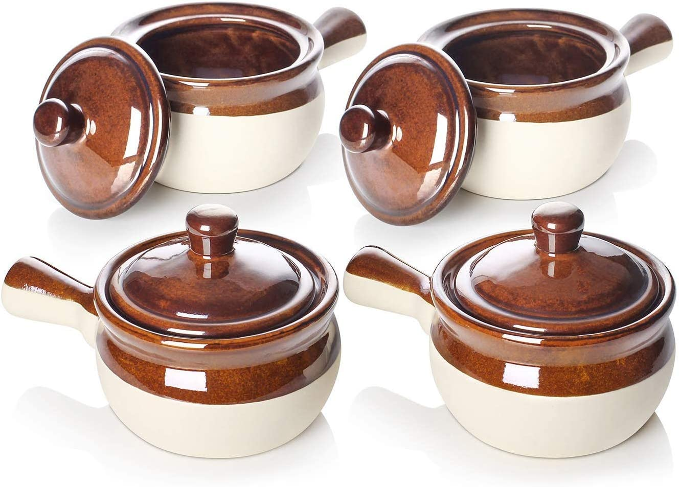 LIFVER French Onion Soup Crocks, Soup Bowls with Handles and Lids, 18 Ounces Ceramic Bowls for Soup, Stew, Chili, Set of 4