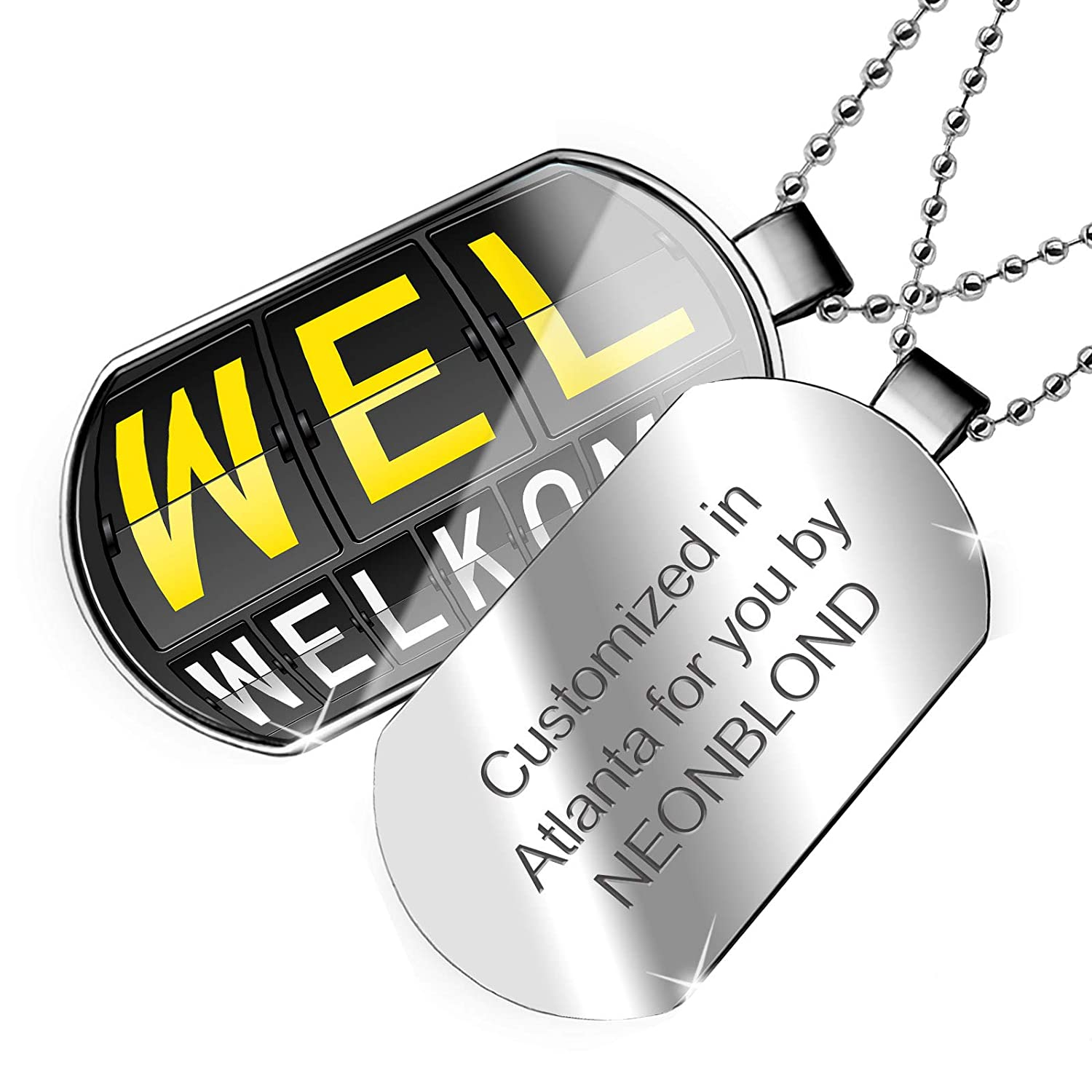 NEONBLOND Personalized Name Engraved WEL Airport Code for Welkom Dogtag Necklace