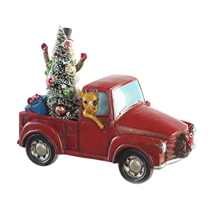 goose creek milu deer driving vintage red truck with snowman christmas tree and gift box led