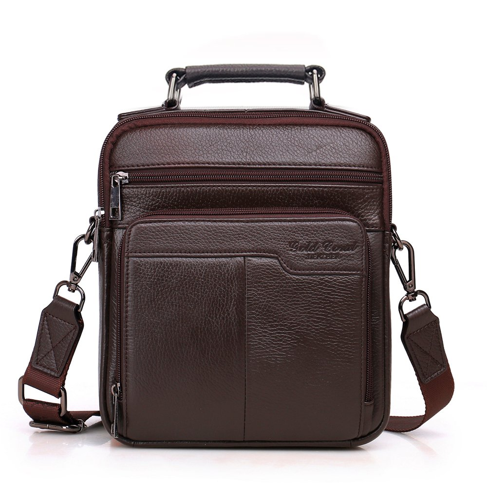 Langzu Handmade Mens Leather Messenger Shoulder Bag Ipad Bag Handbag (coffee)