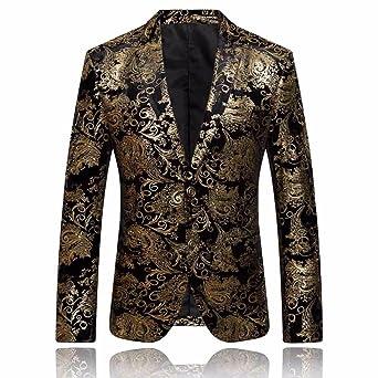 Chaqueta de Hombre, Logobeing Traje Floral Con Muesca Solapa Abrigo Blazer Elegante Con Estilo