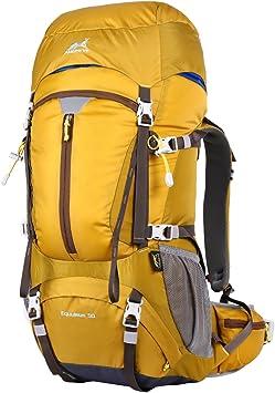 Eshow 50L Mochilas de Montaña Acampada al Aire Libre Impermeable Macutos de Viaje Senderismo Trekking con Cubierta de Lluvia