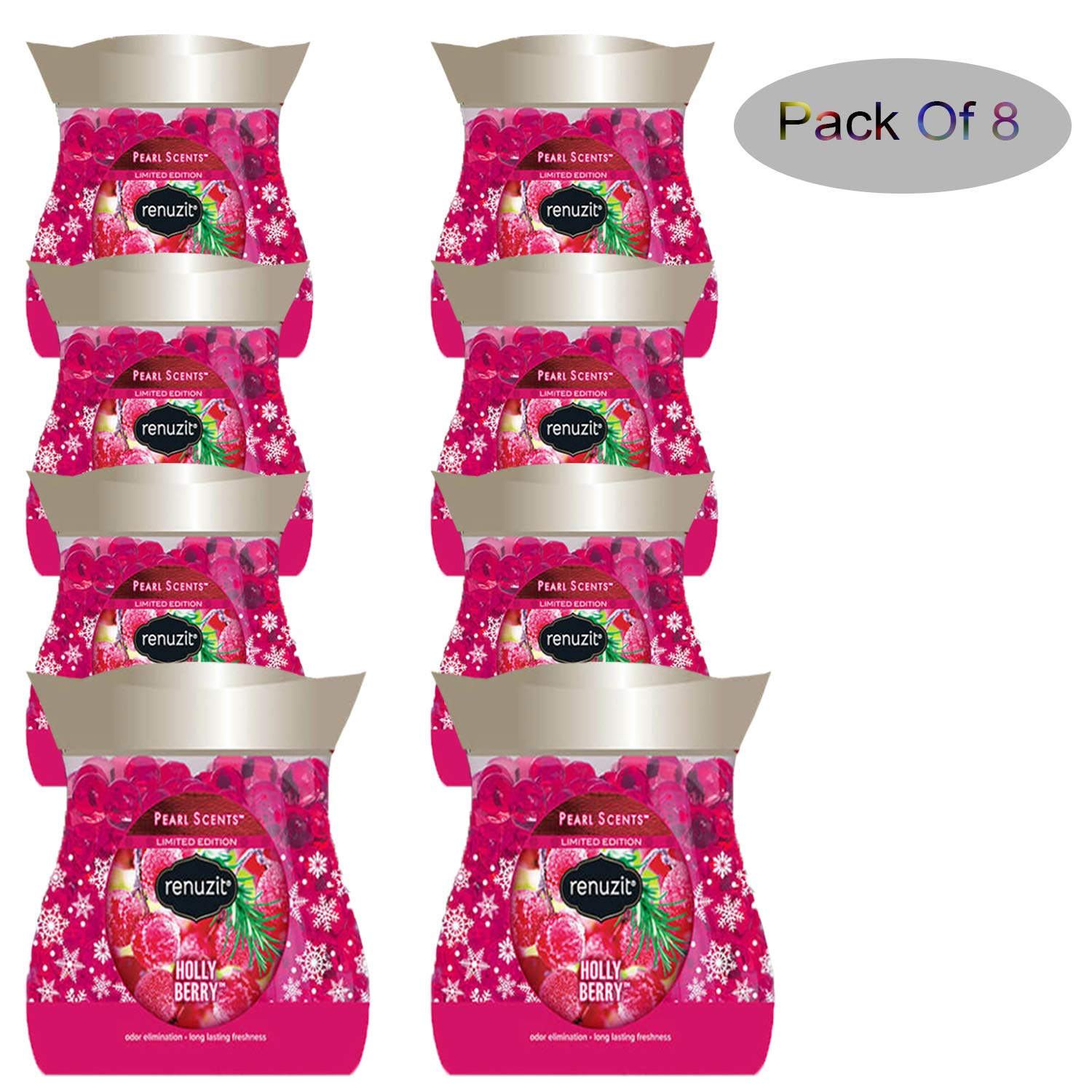 Renuzit Holly Berry Pearl Scents Air Freshener Limited Edition (Pack of 8) by Renuzit