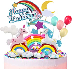MOVINPE Unicorn Cake Topper, 2 Magic Unicorns Sculpture, 1 Rainbow, 1 Happy Birthday Banner, 2 Cloud, 4 Balloon, 12 Stars, 1 Moon, Cake Decoration For Girl Kid Women Birthday Party