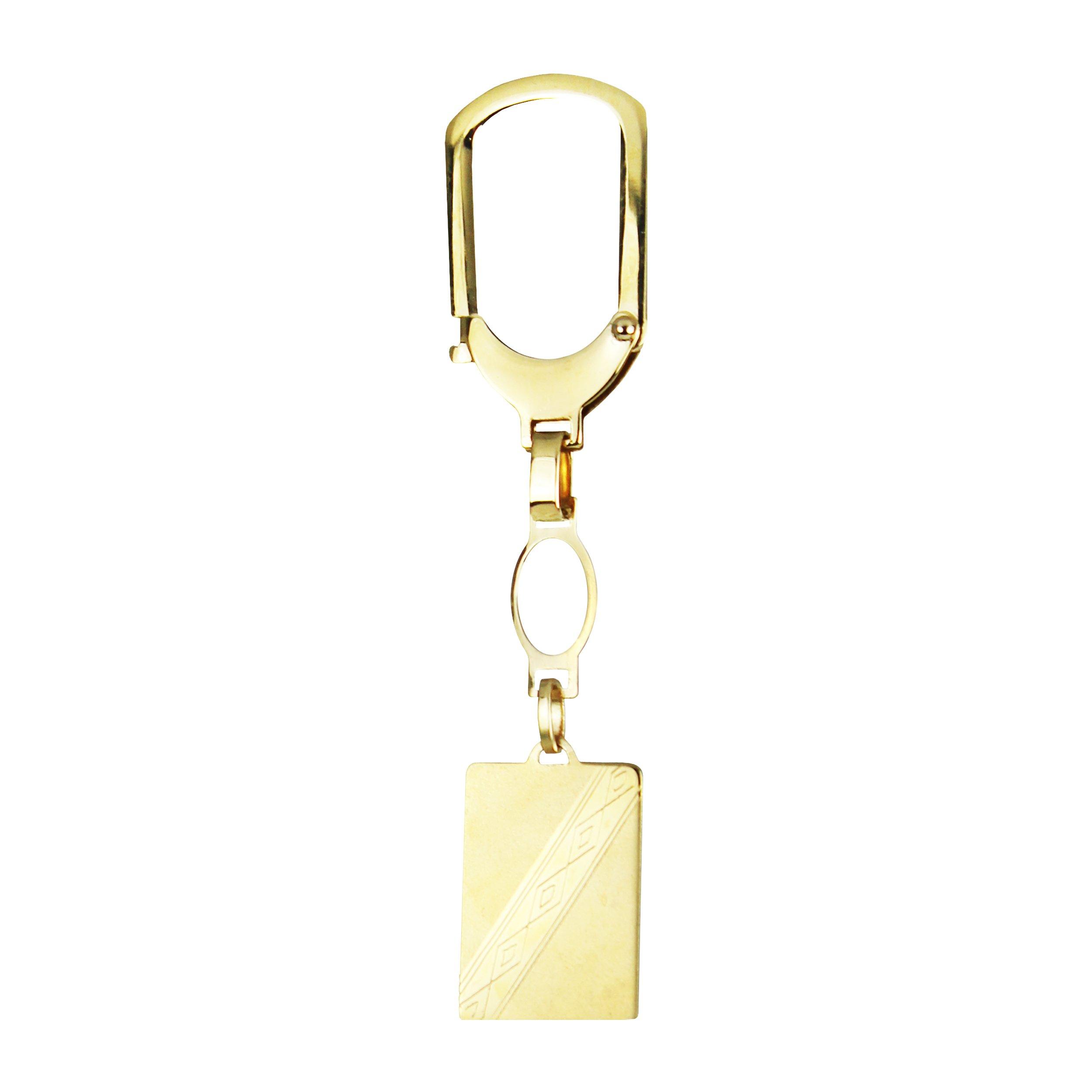 14k Yellow Gold Rectangular Keyring