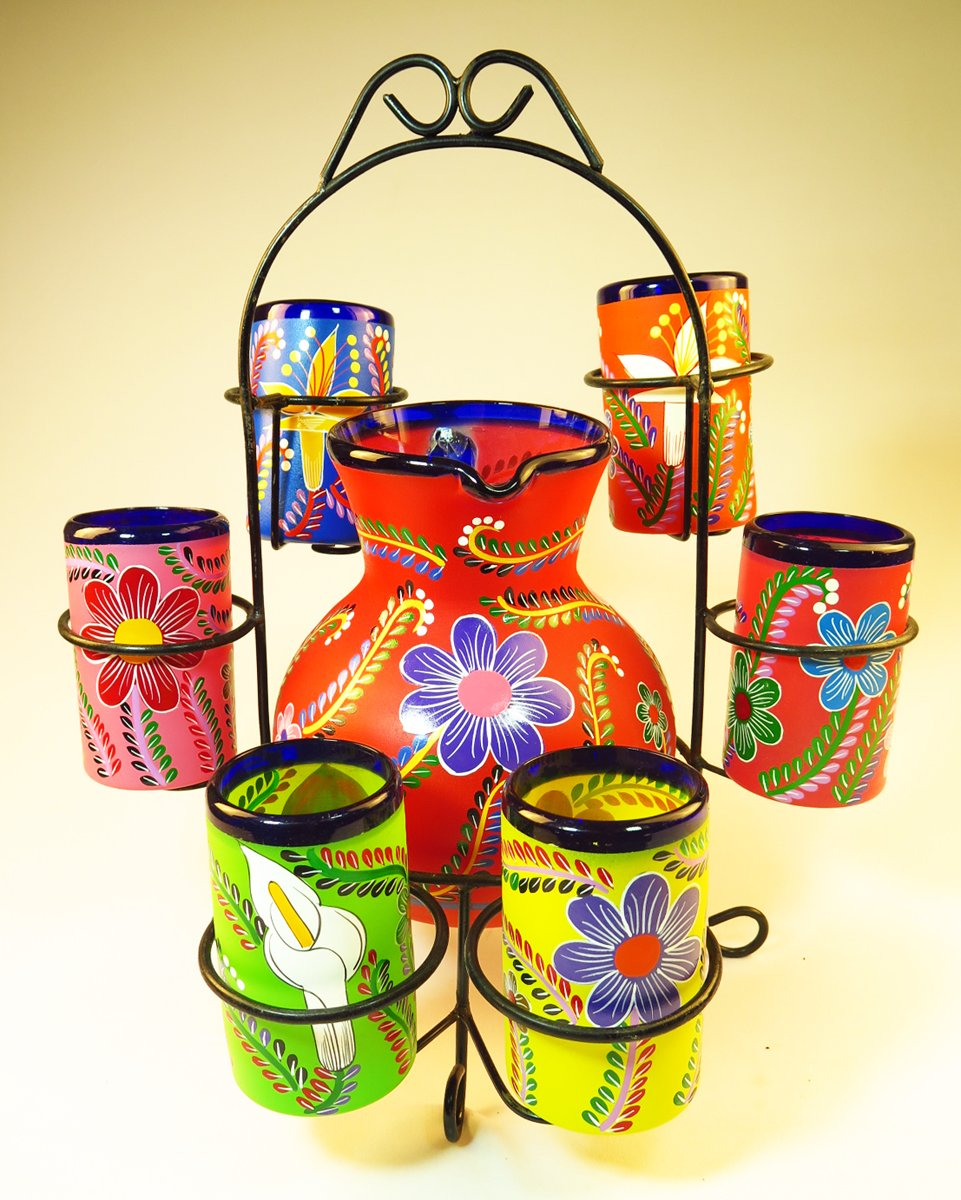 Mexican Glasses & Pitcher set with display rack, Hand Blown, Hand Painted, mixed colors w/various flowers, 16 OZ