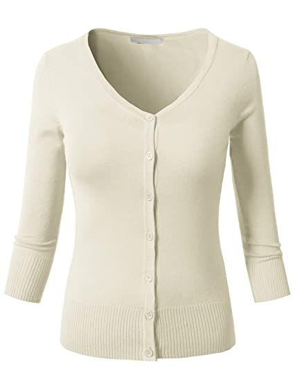 H2h Womens Casual Slim Fit Cardigans 34 Sleeve Button Down Knitted