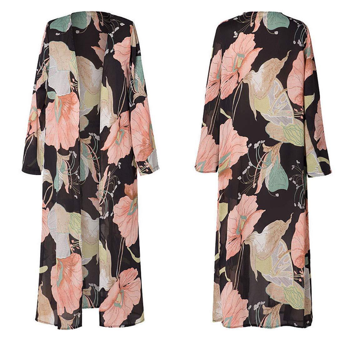 Vertvie Damen Chiffon Kimono Sommer Leicht Tuch Lange Cardigan Mit Blumen Muster Bikini Cover Up