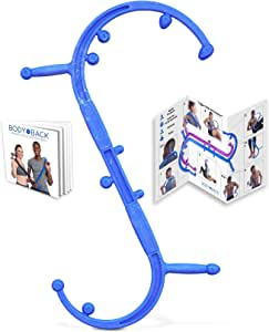 Body Back Buddy Elite (Upgraded 2020 Version) Back Massager, Handheld Massage Stick, Trigger Point Massage Cane, Full Body Muscle Pain Relief (Blue)