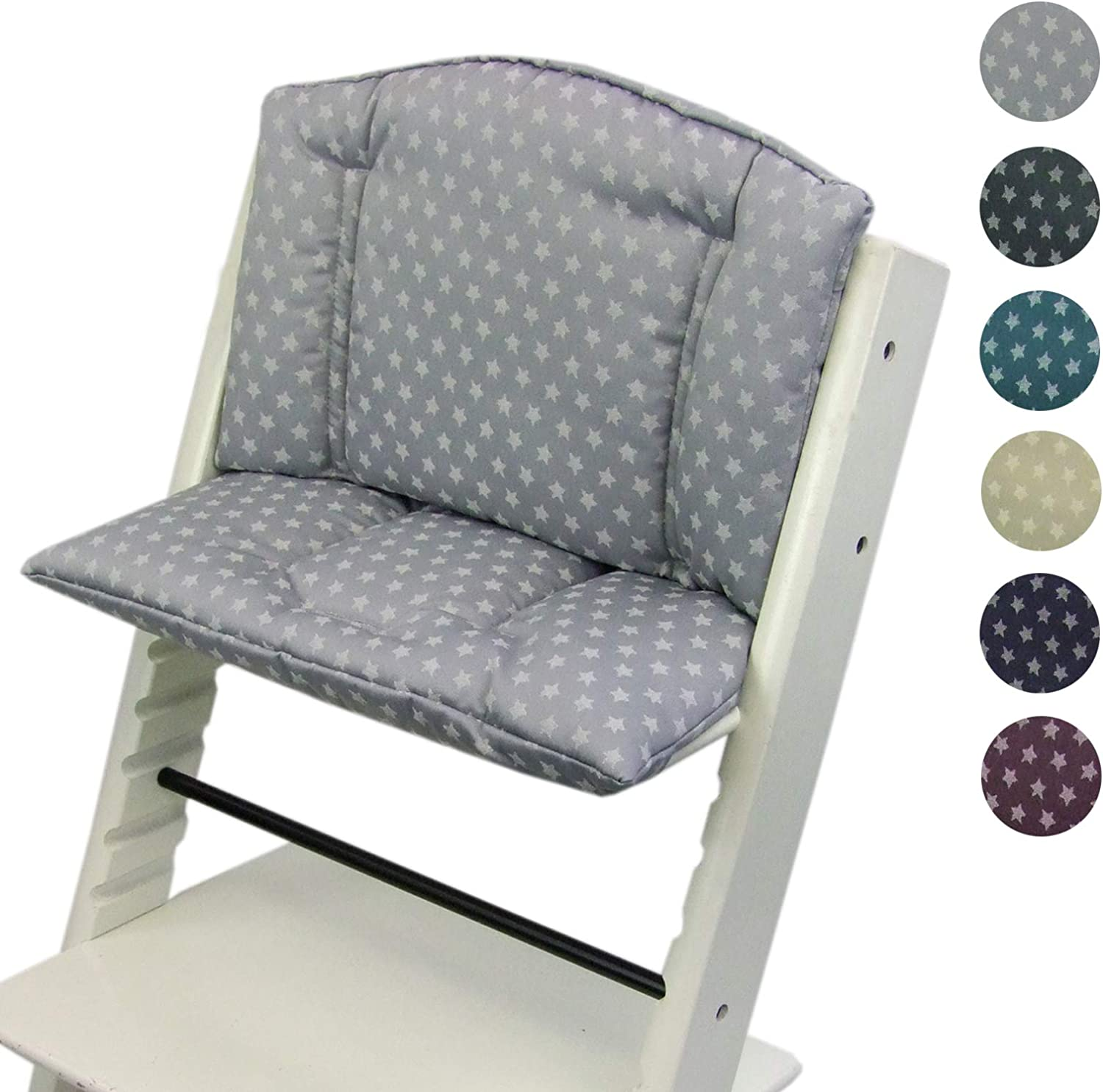 BambiniWelt Seat Cushion Set for Stokke Tripp Trapp High Chair 2 Piece Seat Cushion Cover Replacement Cushion Stars